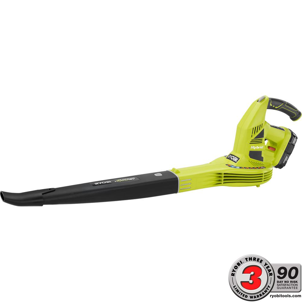 Ryobi ONE+ 150 MPH 200 CFM 18-Volt Lithium-Ion Hybrid Leaf Blower/Sweeper - 1.3 Ah Battery and Charger Included