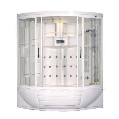 ZAA216 56 in. x 56 in. x 87 in. Corner Steam Shower Enclosure Kit in White with 18 Jets and Whirlpool Tub