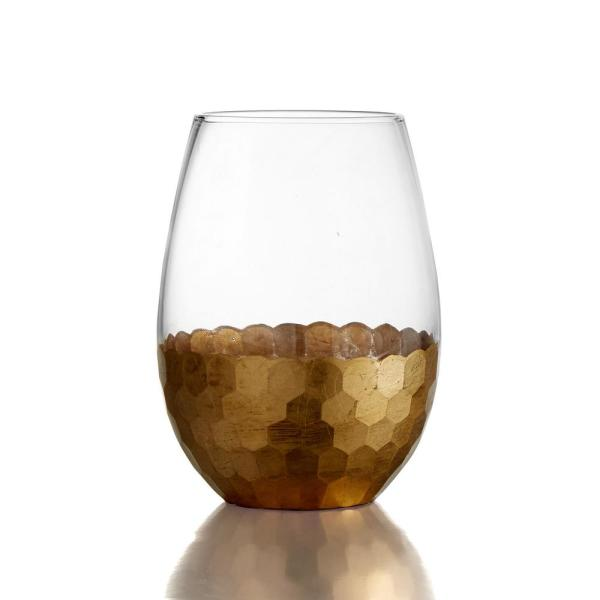 ecc2d0d455e FITZ and FLOYD Daphne Gold Stemless Glasses 20 oz. / 591 ml 3.66 in ...