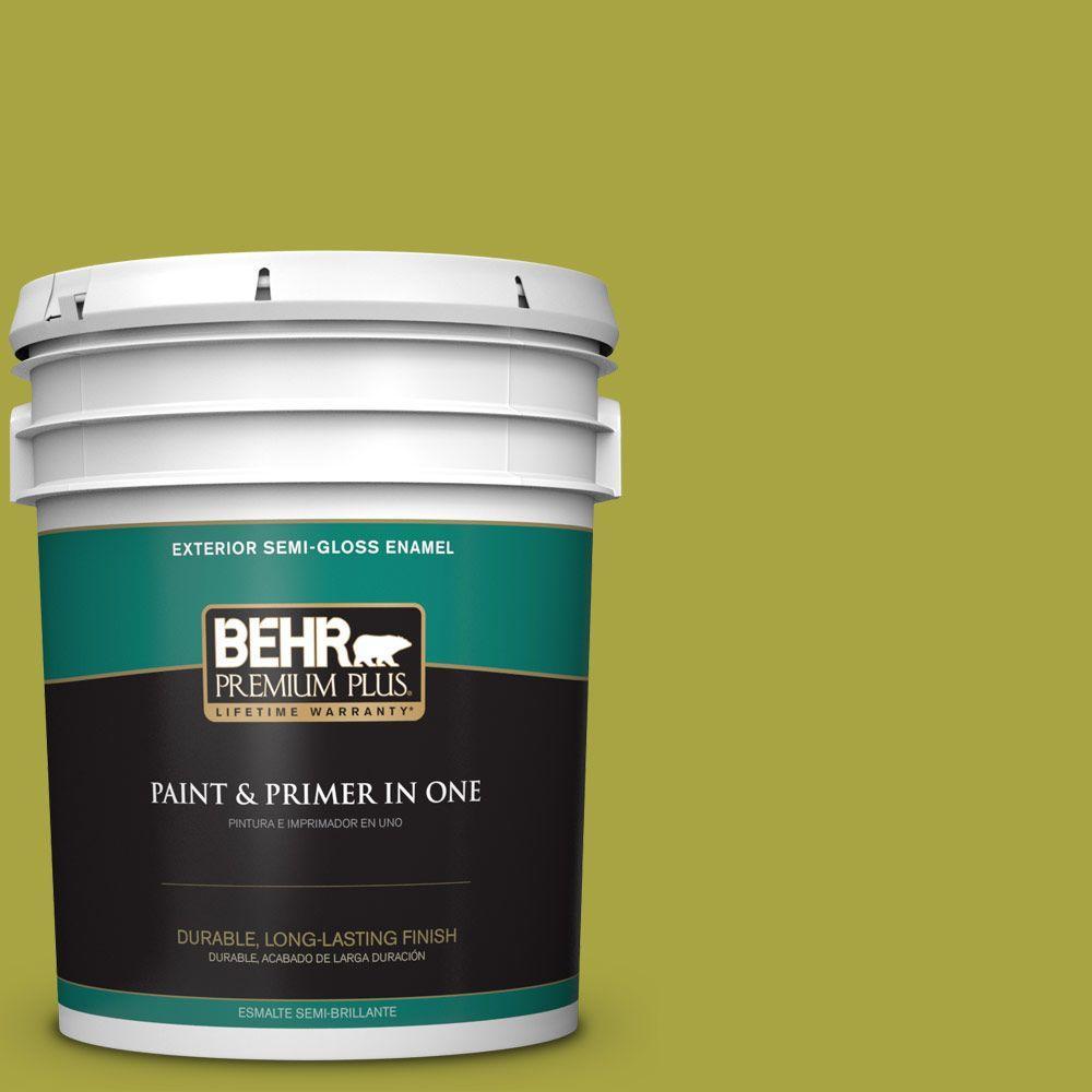 5-gal. #400B-7 Lemon Grass Semi-Gloss Enamel Exterior Paint