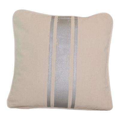 16 in. x 16 in. Natural with Silver Paintstroke Stripes Brushed Canvas  Standard Pillow with Green Eco Friendly Insert