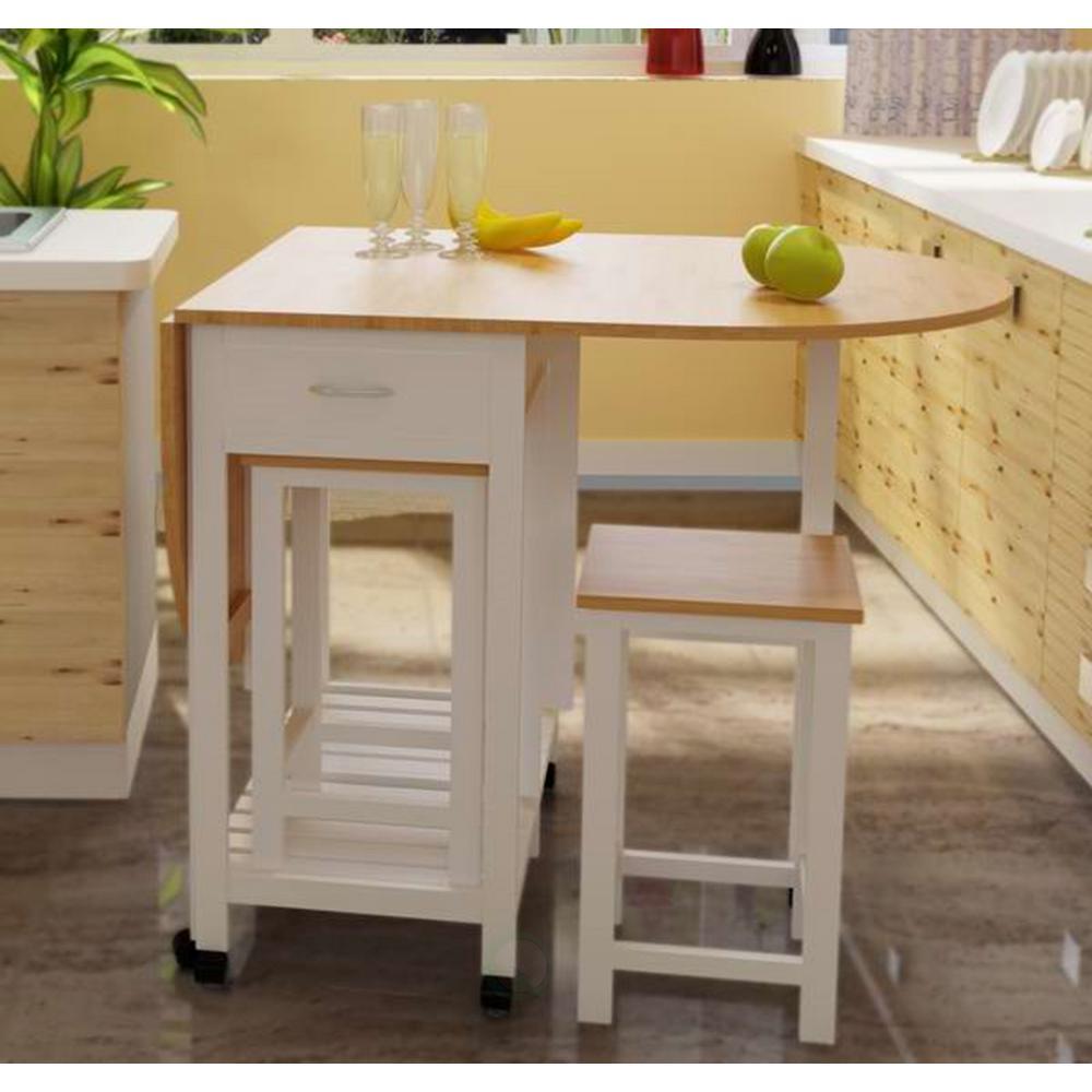 Basicwise 3-Piece White Kitchen Island Breakfast Bar Set ...