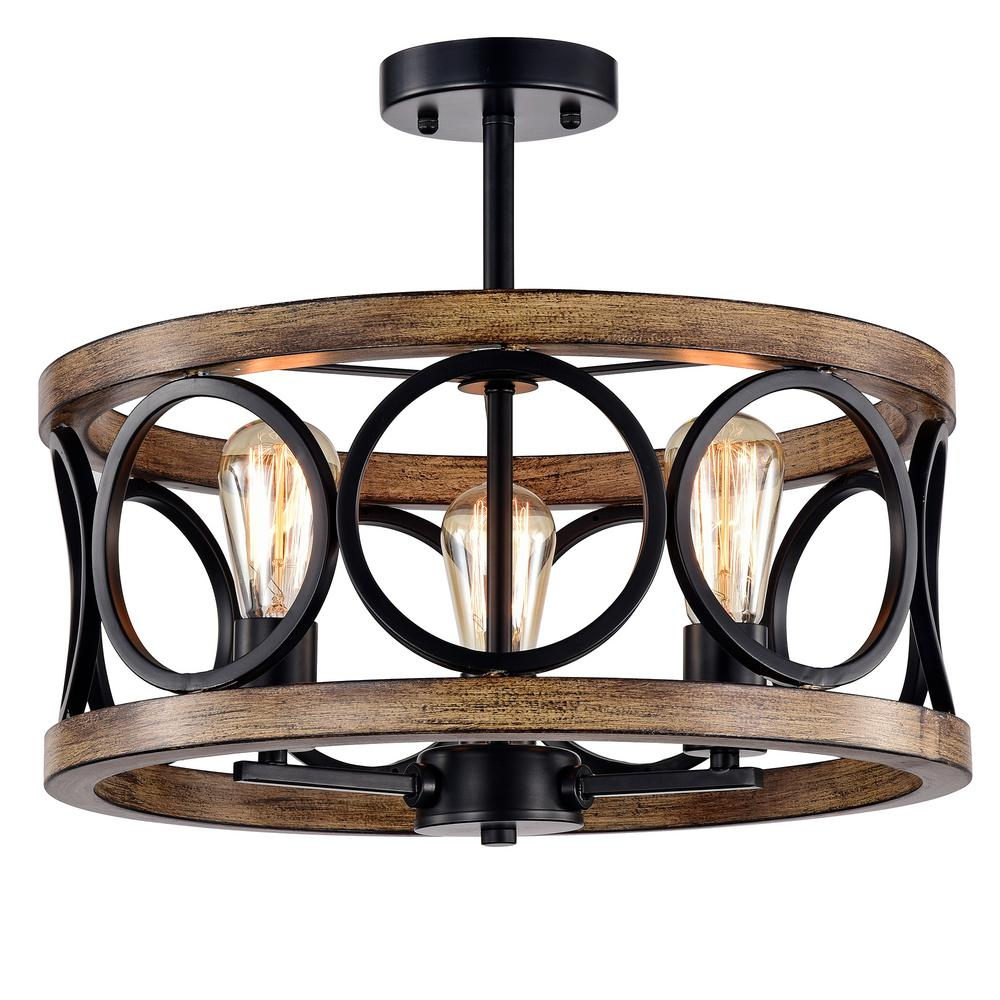 Warehouse Of Tiffany Shacer 3 Light Matte Black Imitation Wood Grain Chandelier