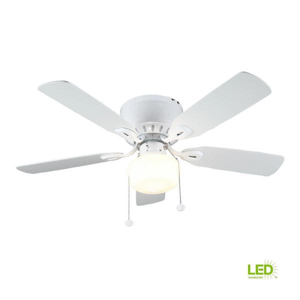 Kennesaw 42 In Led Indoor White Ceiling Fan With Light Kit Uc42v Wh Shc The Home Depot