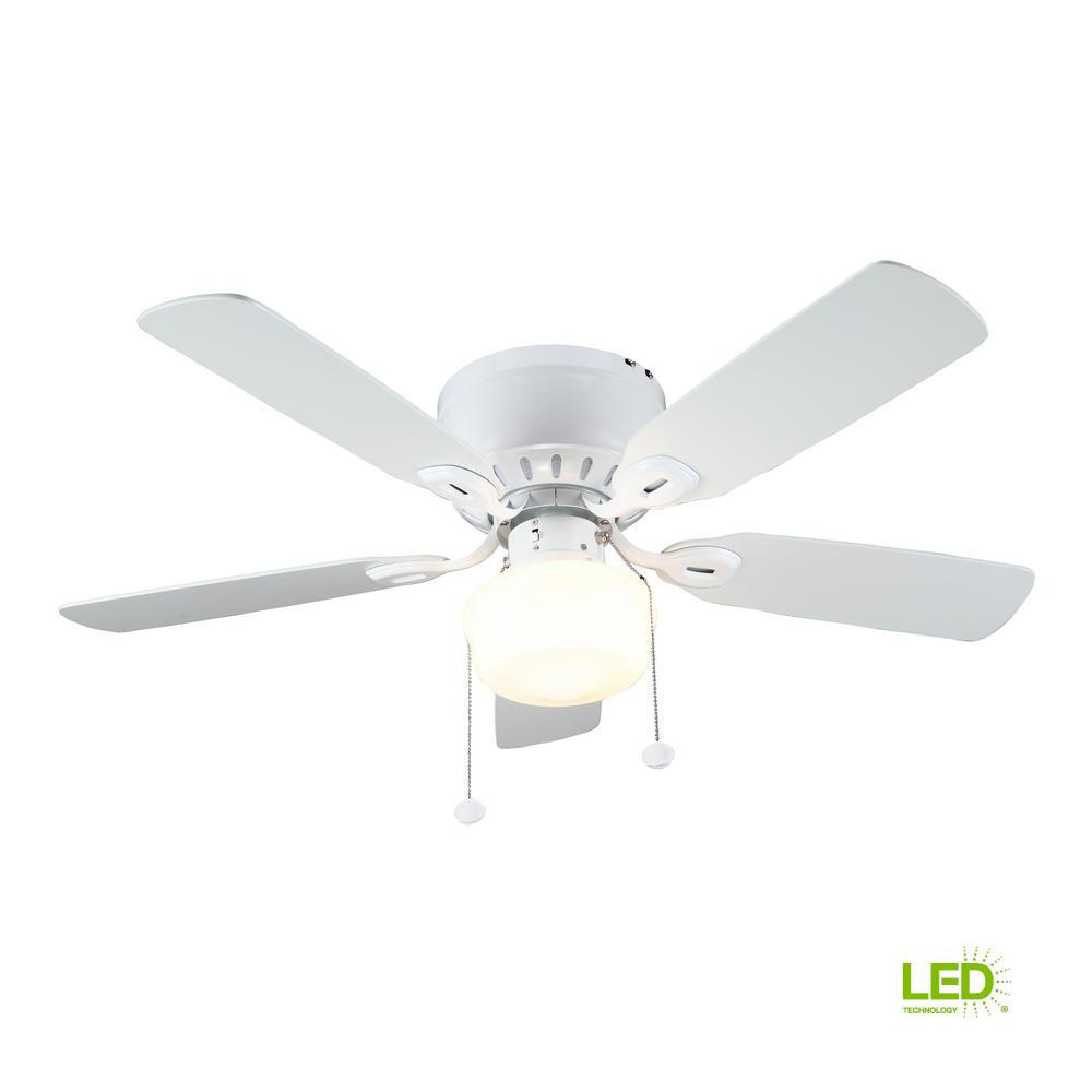 Kennesaw 42 In Led Indoor White Ceiling Fan With Light Kit