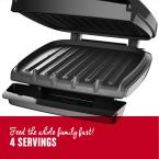George Foreman 60 sq. in. Black Fixed Plate Indoor Grill