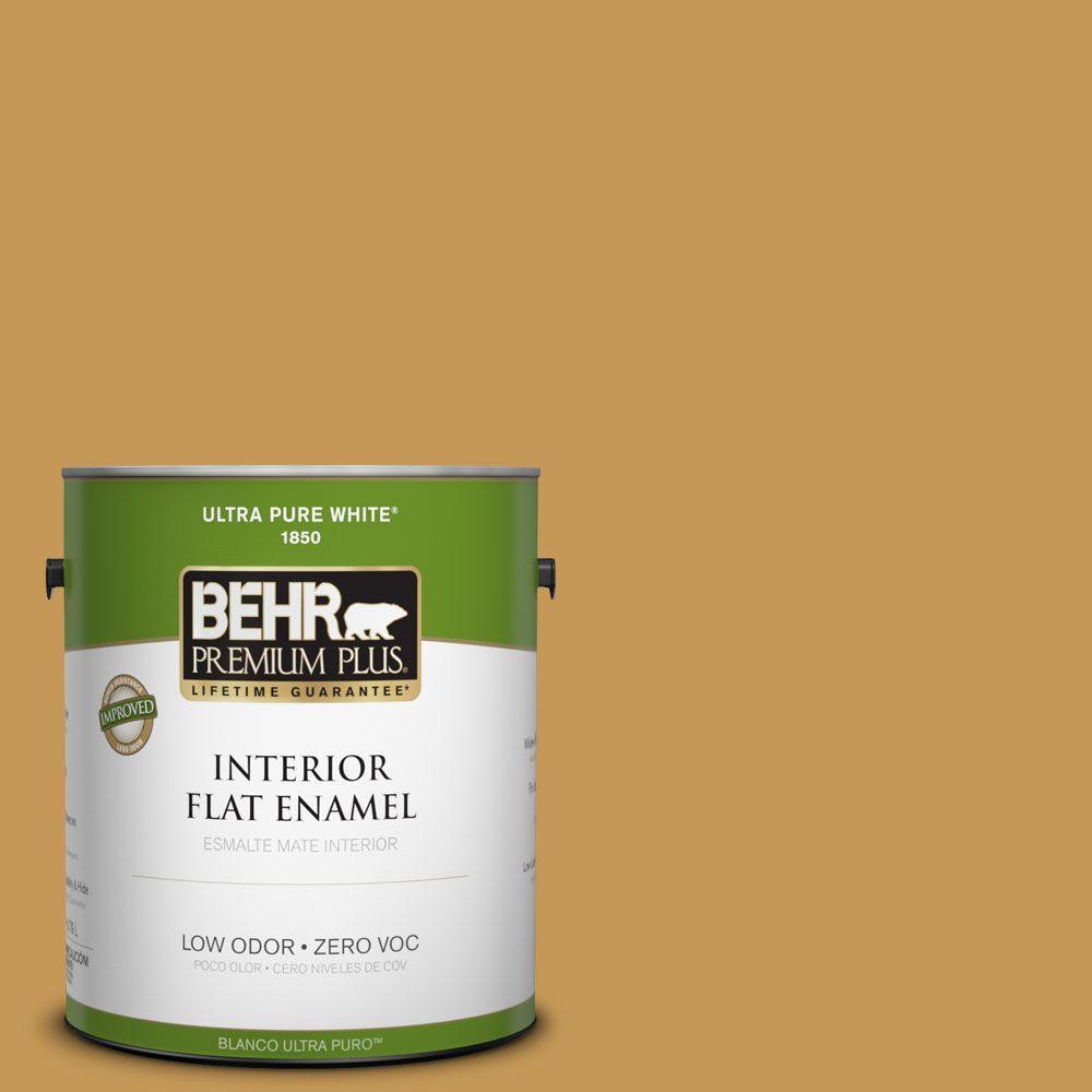 BEHR Premium Plus 1-gal. #PMD-104 Amber Glass Zero VOC Flat Enamel Interior Paint-DISCONTINUED