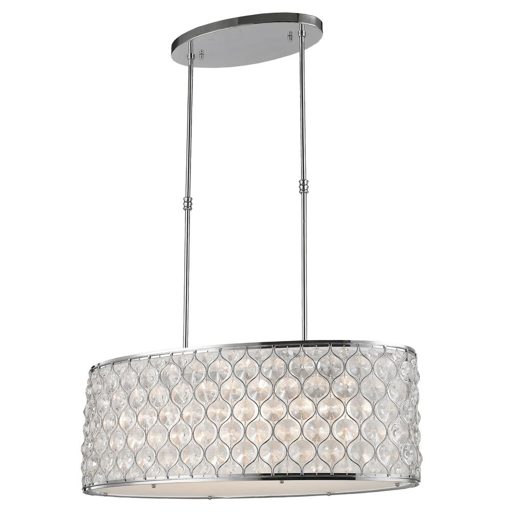 Worldwide Lighting Paris 1-Light Polished Chrome with Clear Crystal Pendant