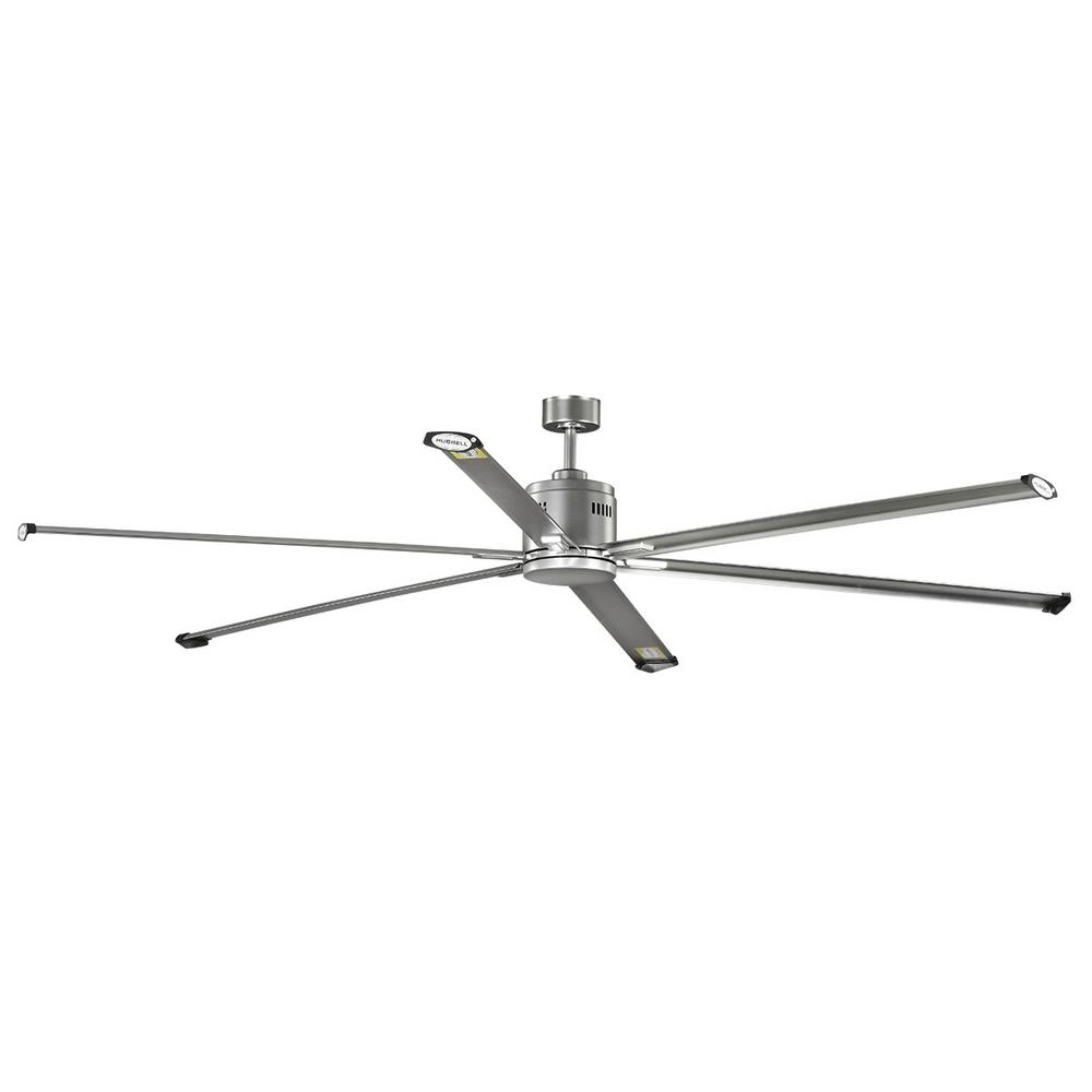 Hubbell Lighting Hubbell Industrial 96 in. Indoor/Outdoor Nickel Dual Mount Ceiling Fan with Wall Control