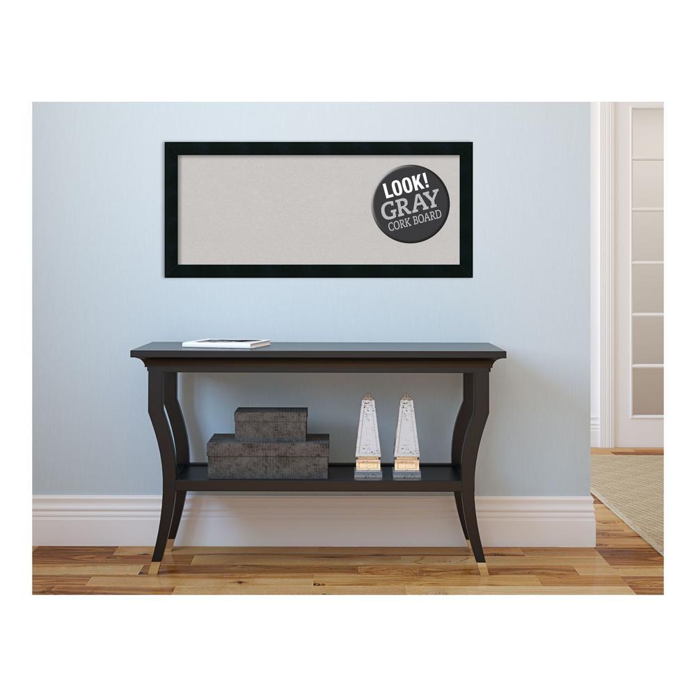 Mezzanotte Black Wood 32 in. x 14 in. Framed Grey Cork Board