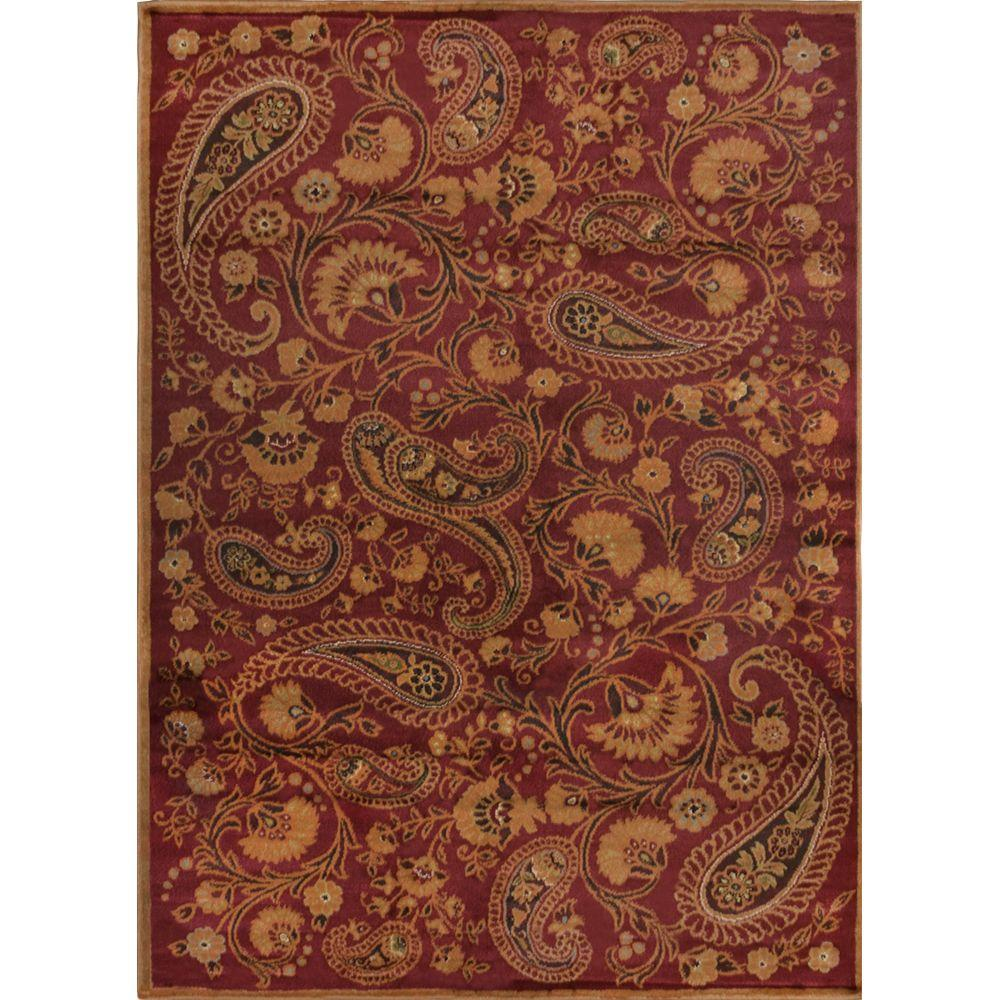 Home Dynamix Paisley Red 7 ft. 8 in. x 10 ft. 4 in. Indoor Area ...