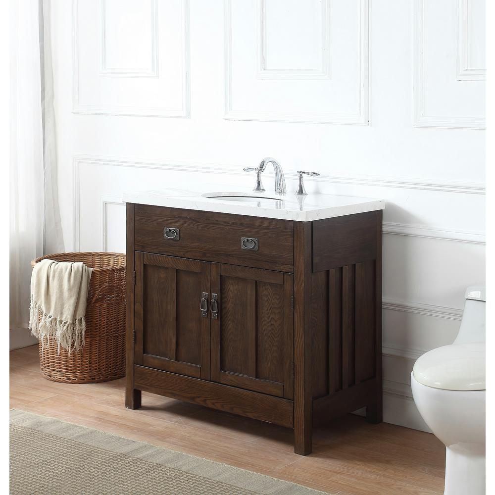 Crawford & Burke Richmond 34 in. W x 20.7 in. D Vanity in Antique Oak with Marble Vanity Top in Gray and White with White Basin