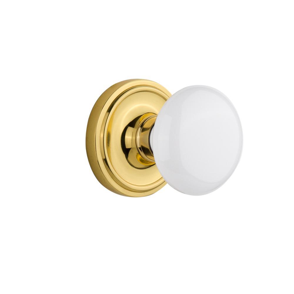 Nostalgic Warehouse Classic Rosette 6-6/6 in. Backset Polished Brass  Privacy Bed/Bath White Porcelain Door Knob