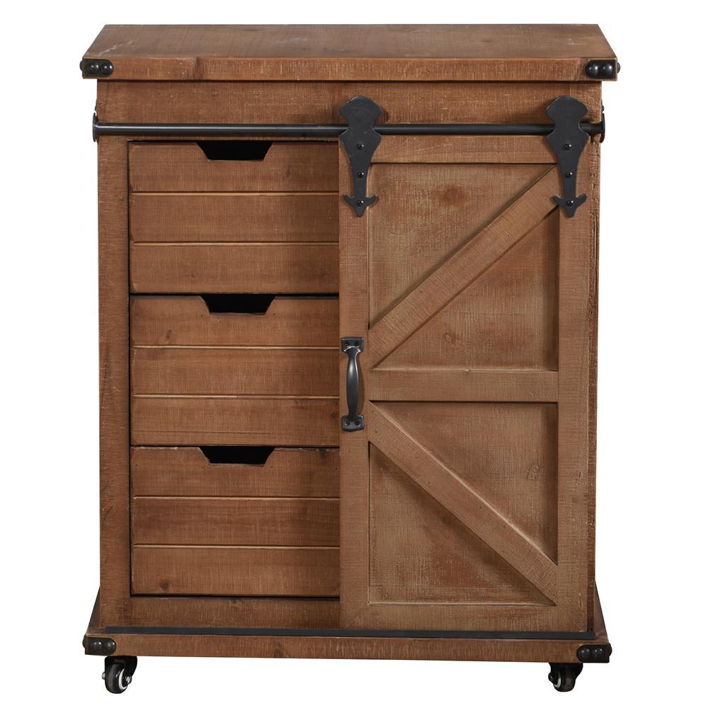 Presley 3-Drawer Natural Brown with Door Side Cabinet