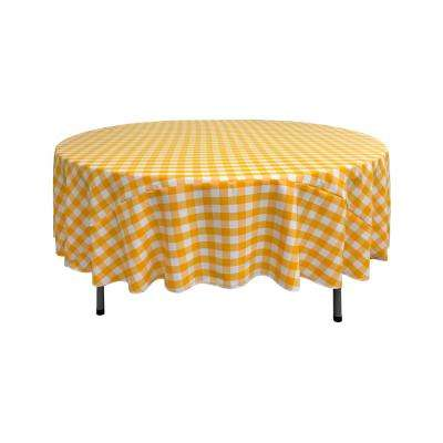 90 in. White and Dark Yellow Polyester Gingham Checkered Round Tablecloth