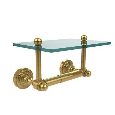 Dottingham Collection Double Post Toilet Paper Holder with Glass Shelf in Polished Brass