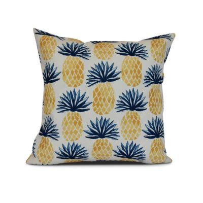 Pineapple Blue Graphic 17 in. x 17 in. Throw Pillow