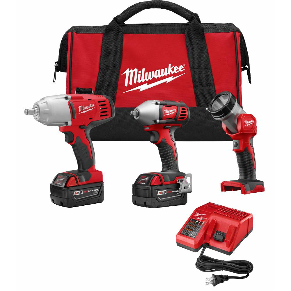 Milwaukee M18 18-Volt Lithium-Ion Cordless High Torque Impact Wrench/Impact Wrench/Light Combo Kit (3-Tool)