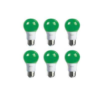60-Watt Equivalent A19 Non-Dimmable Green LED Colored Light Bulb (6-Pack)