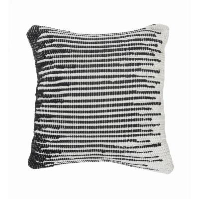 Elsie Black / White Geometric Striped Soft Poly-fill 18 in. x 18 in. Throw Pillow