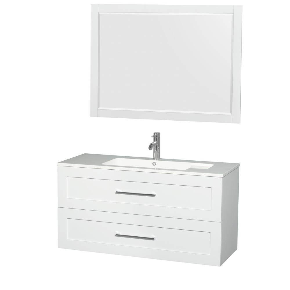 Wyndham Collection Olivia 47.3 in. W x 19 in. D Vanity in Glossy White with Acrylic Vanity Top in White with White Basin and 46 in. Mirror