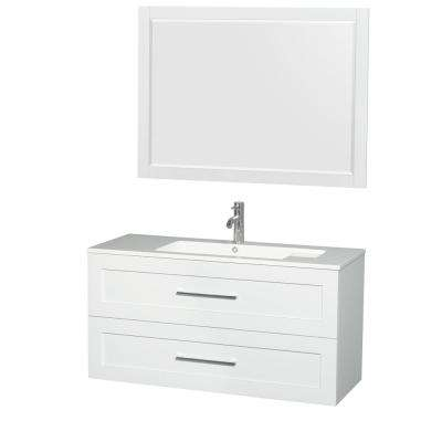 Olivia 47.3 in. W x 19 in. D Vanity in Glossy White with Acrylic Vanity Top in White with White Basin and 46 in. Mirror