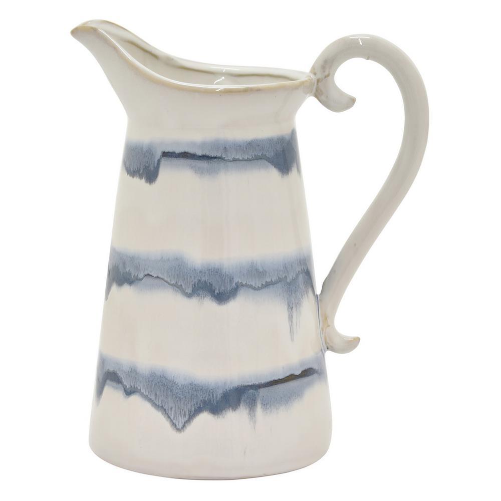 10.75 in. Blue Ceramic Vase