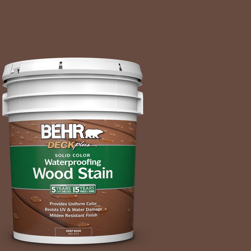 BEHR DECKplus 5 gal. #SC-117 Russet Solid Color Waterproofing Exterior Wood Stain