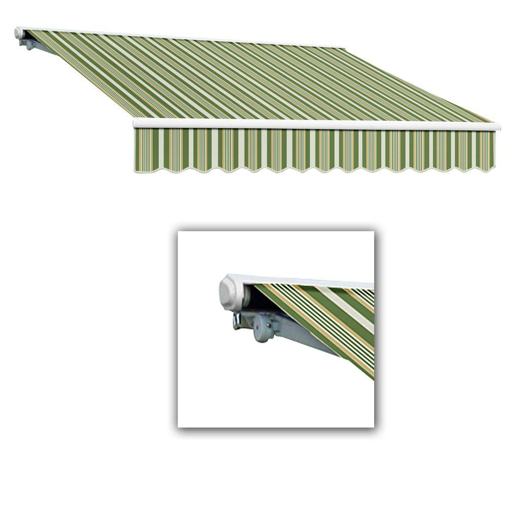 AWNTECH 14 ft. Galveston Semi-Cassette Right Motor with Remote Retractable Awning (120 in. Projection) in Forest/Gray Multi