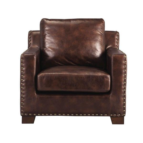 Home Decorators Collection Garrison Brown Bonded Leather Arm Chair 1600600820