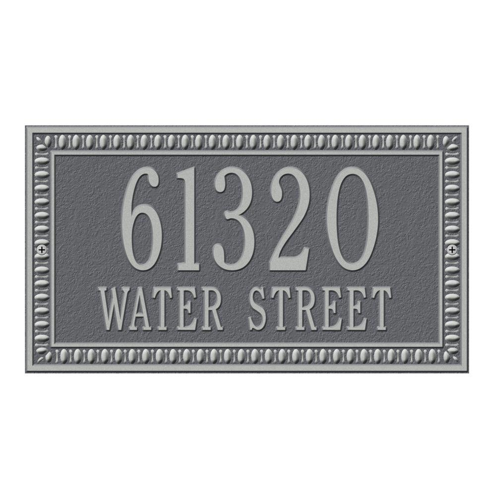 Egg and Dart Rectangular Pewter/Silver Standard Wall Two Line Address Plaque