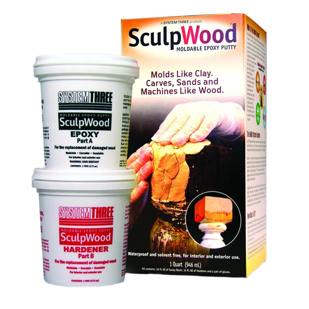 System Three 8 Oz Sculpwood Two Part Epoxy Putty Kit With