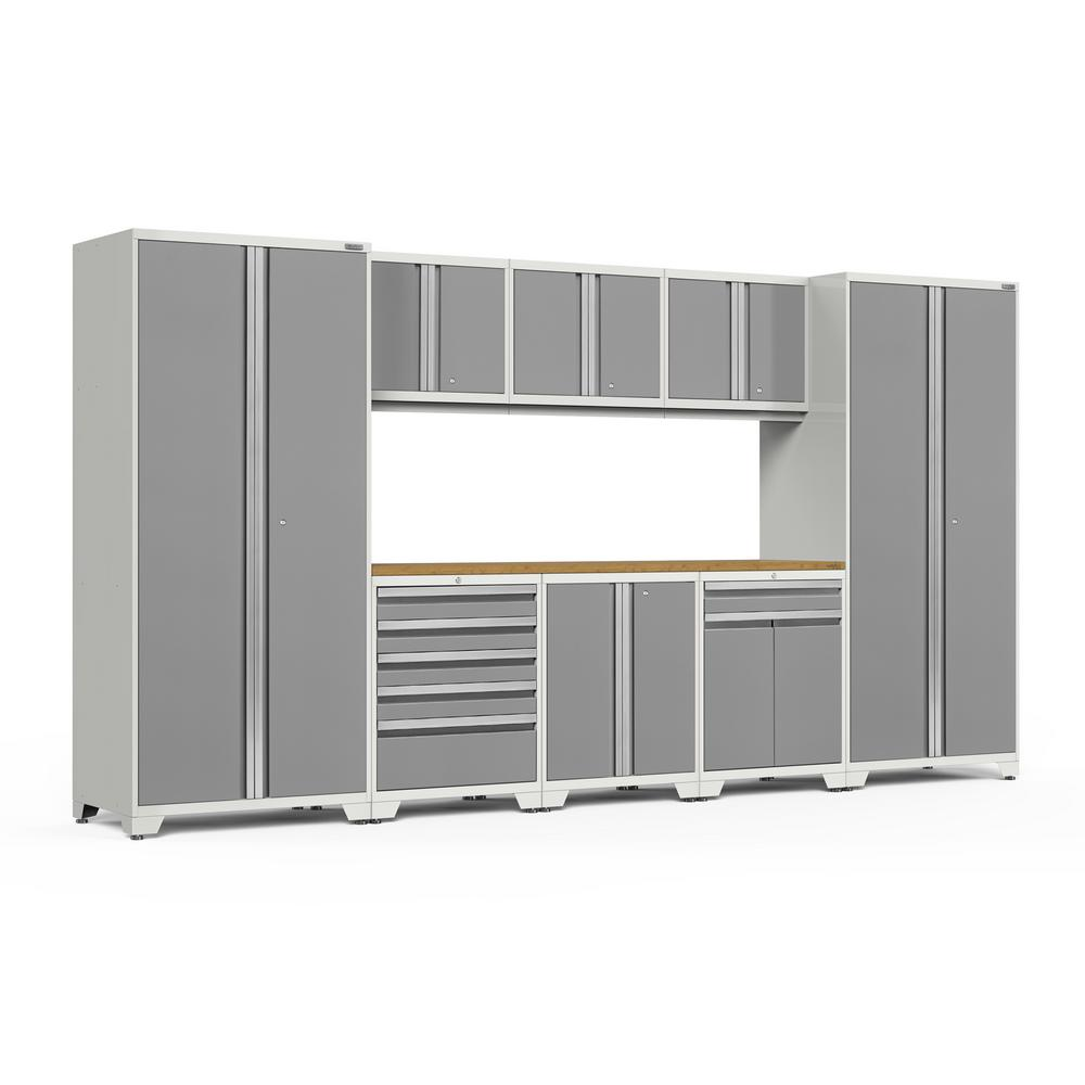 NewAge Products Pro Series 156 in. W x 85.25 in. H x 24 in. D 18-Gauge Welded Steel Garage Cabinet Set in Platinum (9-Piece)
