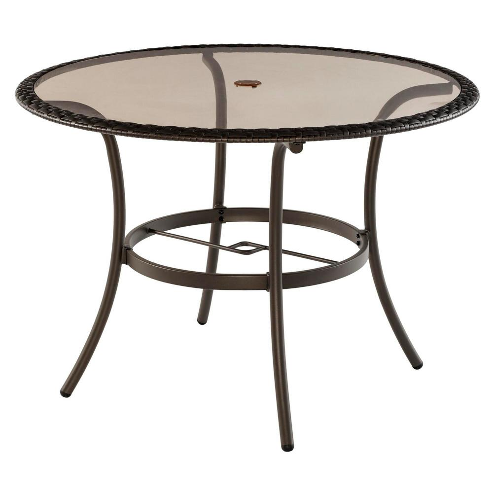 hamptonbay Hampton Bay 42 in. Mix and Match Round Wicker Glass Outdoor Patio Dining Table