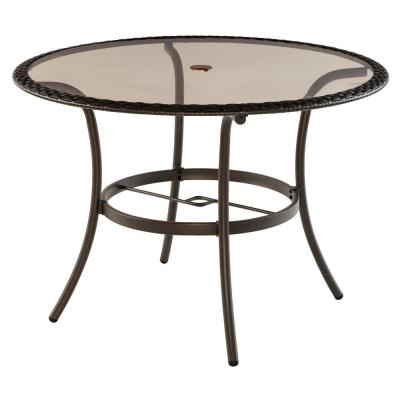 42 in. Mix and Match Round Wicker Glass Outdoor Patio Dining Table