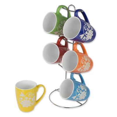 6 Piece Floral Mug Set with Stand, Multi-Color