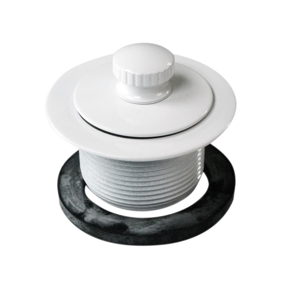 1-1/2 in. NPSM Coarse Thread Twist and Close Bath Drain Plug in Powder Coat White
