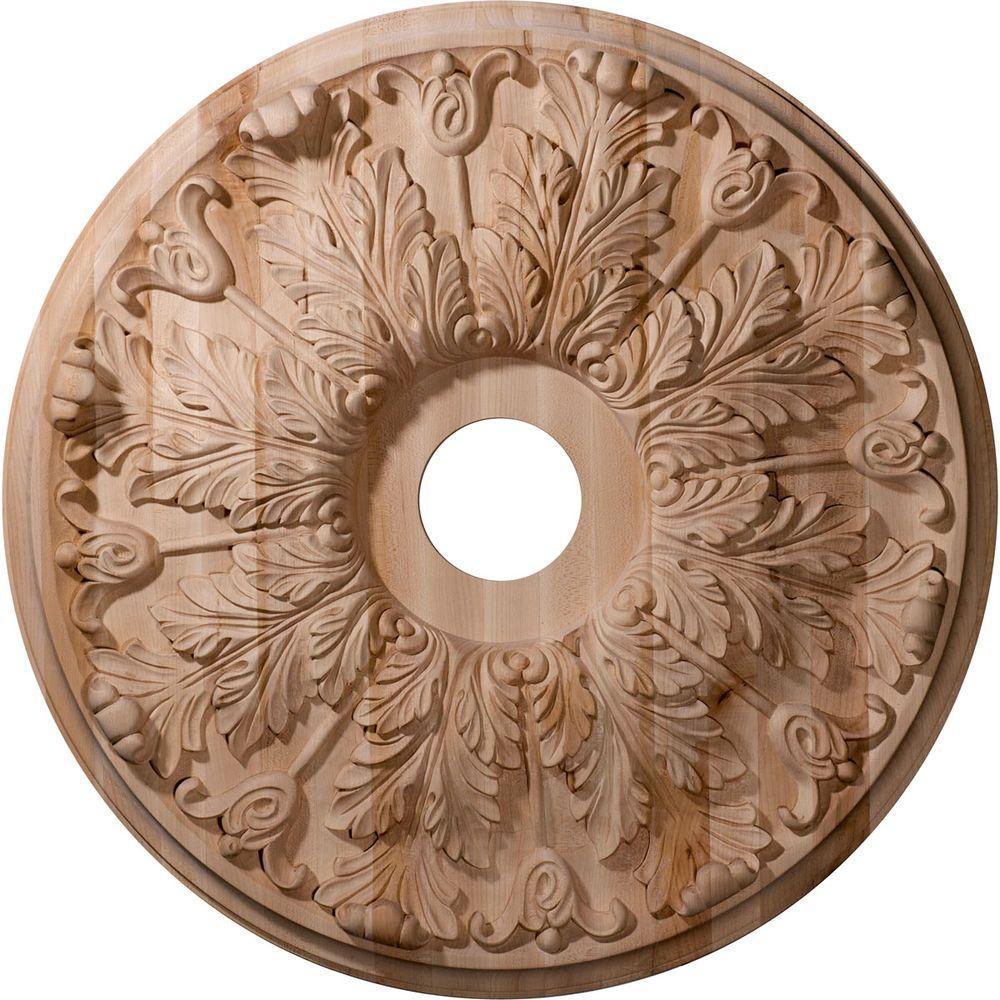 Ekena Millwork 24 in. Unfinished Red Oak Carved Florentine Ceiling Medallion