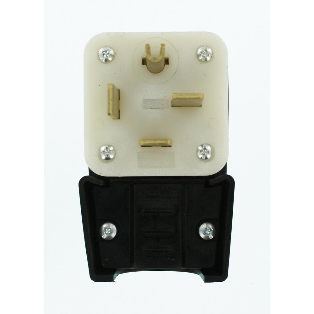Leviton 50 Amp 250-Volt 3-Phase Straight Blade Grounding Angle Plug, Black