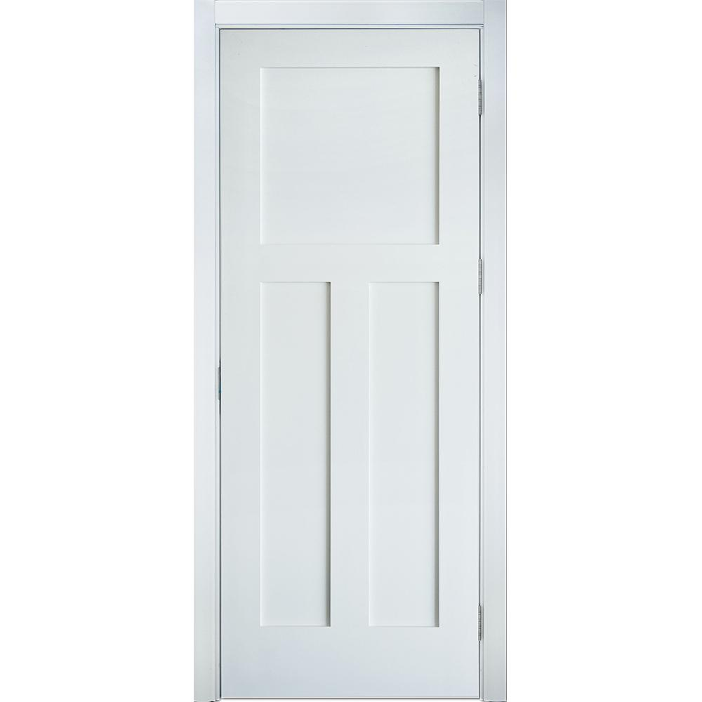 Krosswood Doors 36 In X 96 In 3 Panel Craftsman Shaker Solid Core Mdf Primed Right Hand Single