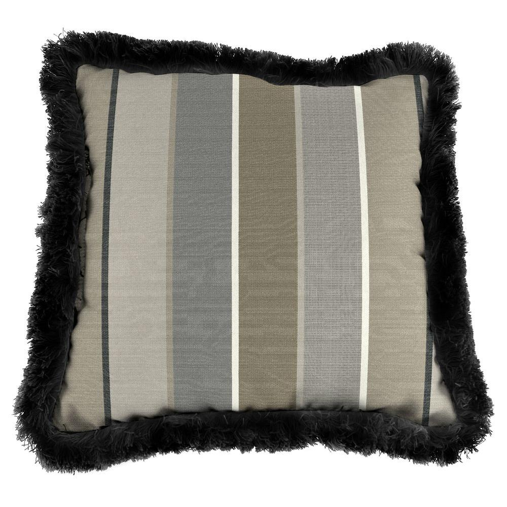 Sunbrella Milano Charcoal Square Outdoor Throw Pillow with Black Fringe