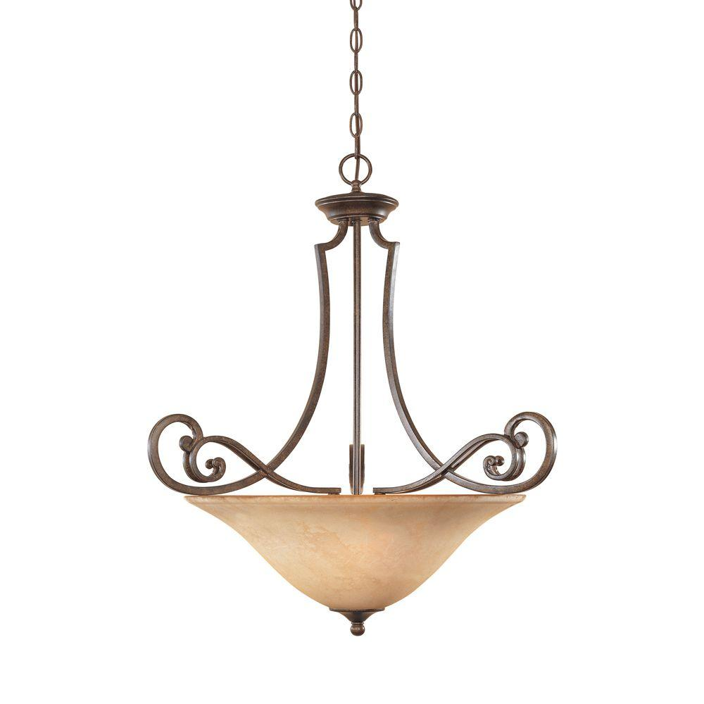 Vienna 3-Light Forged Sienna Hanging Pendant