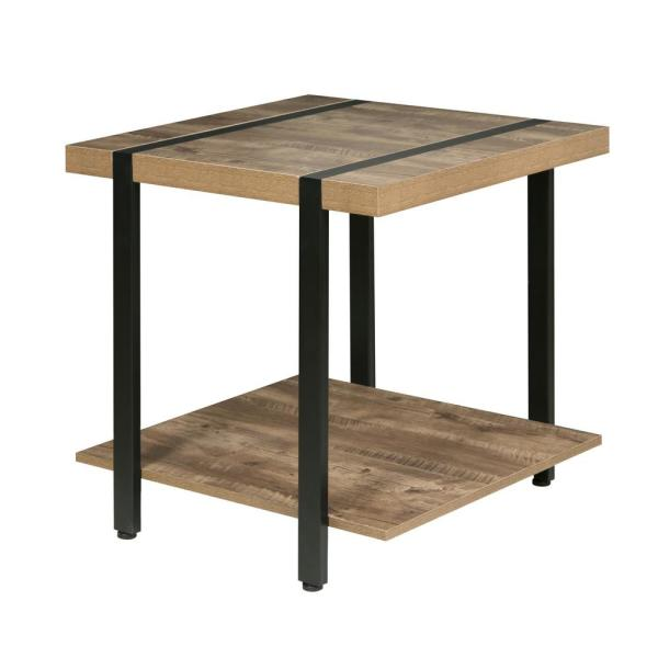 OneSpace Bourbon Foundry End Table, Wood and Inset Black Steel 50-JN22ET