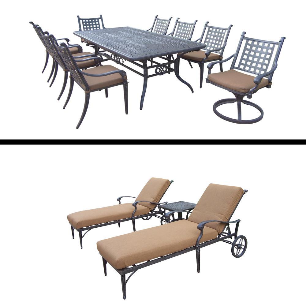 Belmont 12 Piece Aluminum Outdoor Dining Set With Sunbrella Brown Cushions