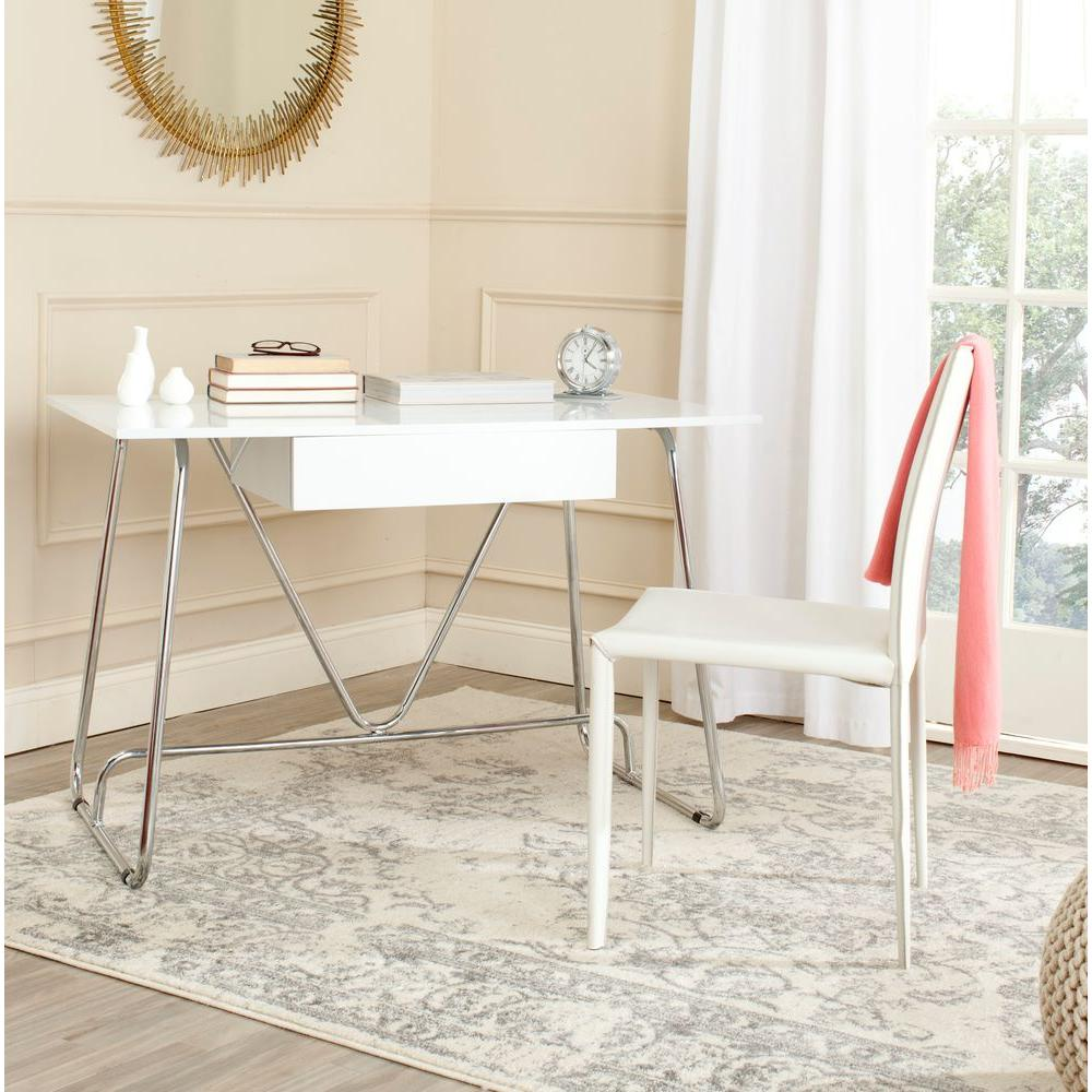 White airy home office Simple Malloy White And Chrome Desk Forooshinocom Safavieh Malloy White And Chrome Deskfox2212a The Home Depot