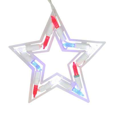 Set of 5 LED Red White and Blue Patriotic Star Christmas Lights with White Wire