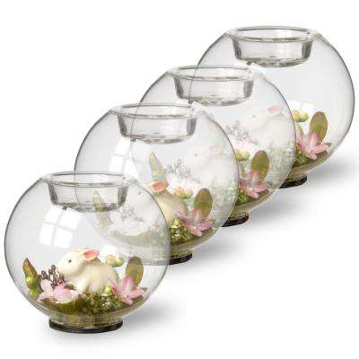 4 in. Round Glass Candle Holder with Rabbit and Mini Flowers (Set of 4)
