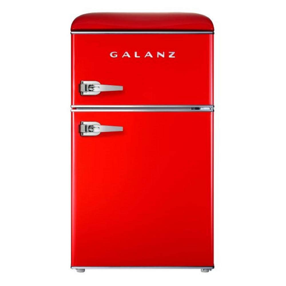 Galanz 3.1 cu. ft. Retro Mini Fridge with Dual Door True Freezer in Red Galanz 3.1 cu. ft. Retro style top freezer refrigerator can store and keep cool snacks, beverages and more. Best of all, this refrigerator-freezer has the look and feel of the fabulous old days, but has the appeal of a modern appliance. Featuring an adjustable thermostat, separate freezer compartment, bright interior lighting and spacious, clear fruit and vegetable crisper, the unit also has removable shelf and door shelves. It is a fun and stylish addition to any kitchen, rec room or home office. Color: Red.