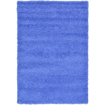 Solid Shag Periwinkle Blue 4 ft. x 6 ft. Area Rug