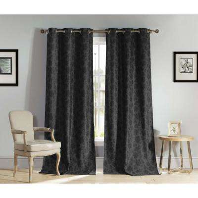 Floral Black Polyester Blackout Grommet Window Curtain 54 in. W x 84 in. L (2-Pack)